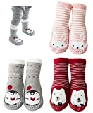3-Pairs Animal Toddler Baby Anti-slip Socks Boots Slipper Shoes Prewalker Grip Floor Socks (A-Pack, 0-10 Months)