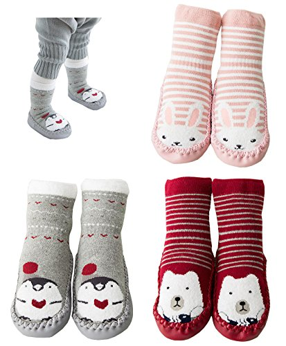 3-Pairs Animal Toddler Baby Anti-slip Socks Boots Slipper Shoes Prewalker Grip Floor Socks (A-Pack, 0-10 Months)