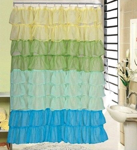 Flamenco Tiered Fabric Shower Curtain 70
