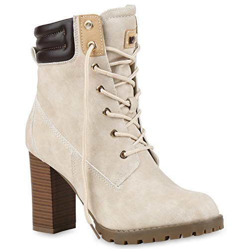 Stiefelparadies Damen Worker Boots Stiefeletten High Heels Gefütterte Outdoor Schuhe Schnürstiefeletten Wildleder-Optik Booties Flandell Creme Gefüttert