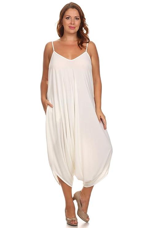 0b9d37db174 Amazon.com  CANARI Plus-Size Women s Harem Spaghetti Strap Jumpsuit White   Sports   Outdoors