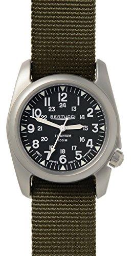 Bertucci A-2T Vintage Watch Balck/Ti-Def Olive Band 12075