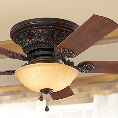 (Harbor Breeze Lynstead 52-in Specialty bronze Indoor Flush Mount Ceiling Fan with Light Kit)