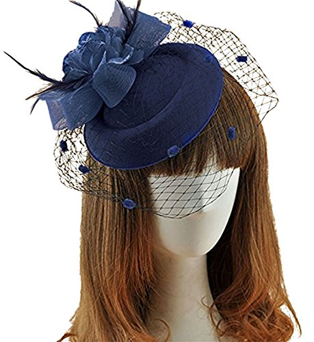 Fascinator Hair Clip Pillbox Hat Bowler Feather Flower Veil Wedding Party Hat (Navy Blue)