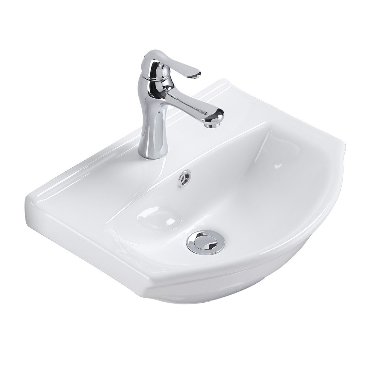 Small Wall Mount Vessel Sink White Vitreous China Offset Space Saver Overflow | Renovator's Supply