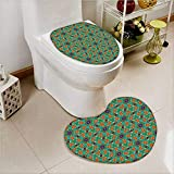 2 Piece Toilet mat set Orange India Design rs Print Fern Green Marig and Toilet cushion suit