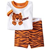 LaLaMa Little Boys' Tiger Animals Sleepwear Suits Outfits 2pc Tops+Pants Sets 7T