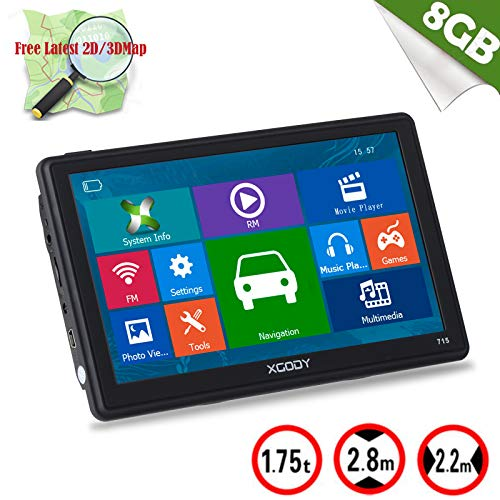 Xgody 715 7 inch Car Truck GPS Navigation Sat Nav Capacitive Touch Screen Sunshade Built-in 8GB FM MP4 MP3 Lifetime Map Updates Spoken Turn Turn Directions Black