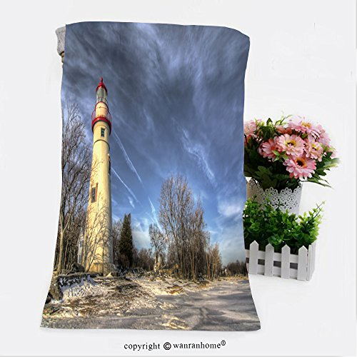 VROSELV Cotton Microfiber Bathroom Bath Towel-the historic marblehead lighthouse in northwest ohio sits along the rocky shores of lake erie seen Custom pattern of household ()