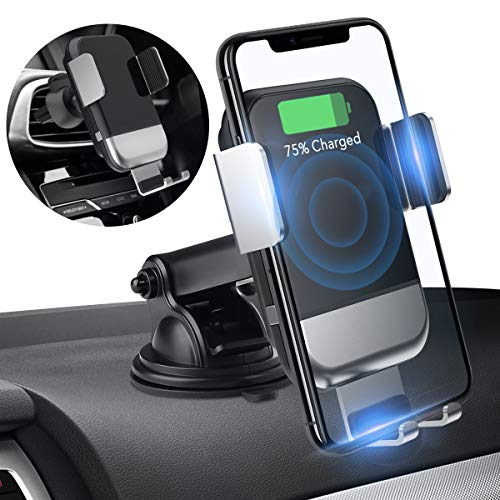 Souleader Wireless Car Charger Mount, Auto Clamping 7.5W /10W Fast Charging Qi Car Phone Holder Air Vent Dashboard Compatible iPhone Xs/Xs Max/XR/X/ 8/8 Plus, Samsung Galaxy S10 /S10+/S9 /S9+/S8 - Covers Wireless Phone