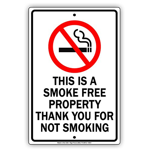 Metal Advertisement Sign (This Is A Smoke Free Property Thank You For Not Smoking Metal Sign Display Primium Quality Advertisement Sign Board Home Decor 8