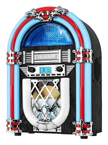 Victrola Retro Desktop Jukebox with CD Player, FM Radio, Bluetooth, and Color Changing LED Lights, 15-Inch Tall (Record Player Jukebox)