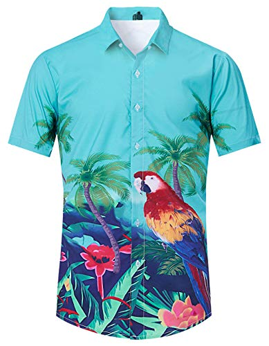 (TUONROAD Men's Casual Floral Graphic Tropical Shirt Animal Prints Colorful Feather Parrot Vacation Aloha Short Sleeve Hawaiian Attire Shirt Patterned Button Down Shirt Hawaiian Clothes Tops for Boy)