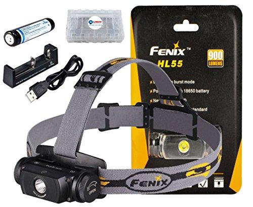 BUNDLE: Fenix HL55 900 Lumen CREE XM-L2 T6 LED Headlamp w/ 1x Xtar 18650 Li-ion rechargeable battery, 1x Xtar MC1 Charger and Lightjunction Battery Case