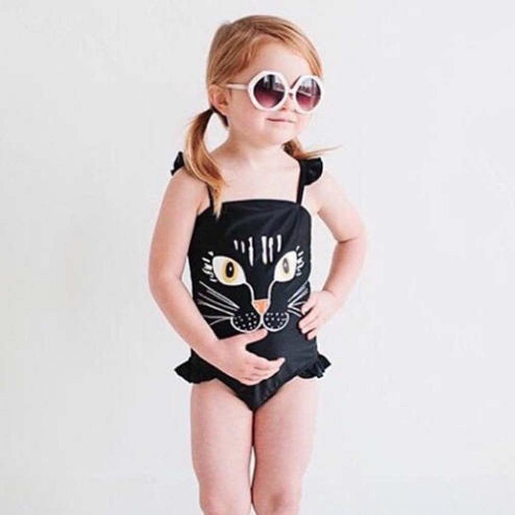 Residen 2-7T Girls Swimwear Cat Printed Kids One Piece Swimsuit Bathing