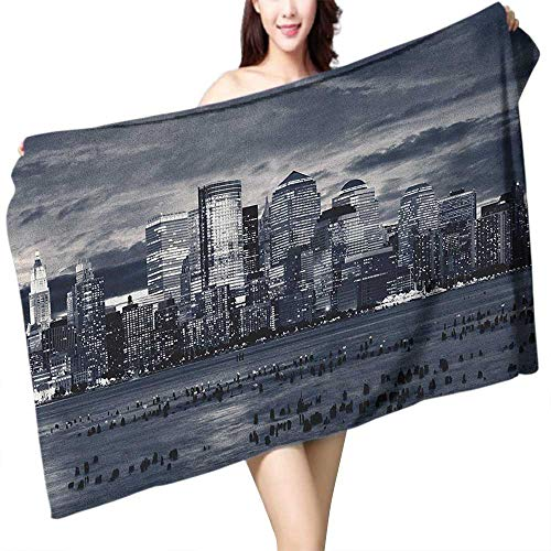 Beach Towel City Dramatic View of New York Skyline from Jersey Side Clouds Buildings W20 xL39 Suitable for bathrooms, Beaches, Parties