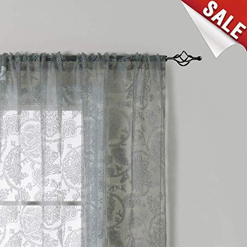 jinchan Sheer Curtain for Living Room Grey 84