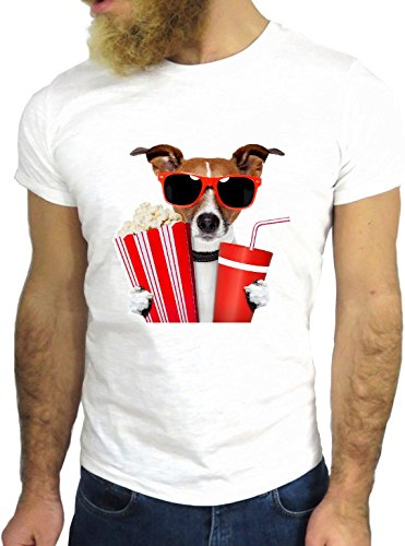 T SHIRT JODE Z1609 DOG POP CORN COLA CINEMA SUNGLASS FUNNY COOL FASHION NICE GGG24 BIANCA - WHITE M