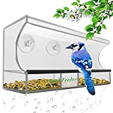 Bird Feeder, Window Bird House Crystal Clear Acrylic with Removable Tray, Drain Holes and 3 Heavy Duty Suction Cups with Hooks,Weatherproof Design,Squirrel Resistant,Drains Rain Water.