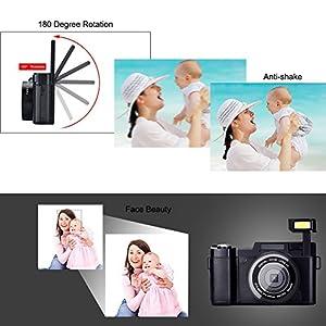 Digital Camera Vlogging Camera Full HD1080p 24.0MP Camcorder 3.0 Inch Flip Screen Camera with Retractable Flashlight from SUNLEA