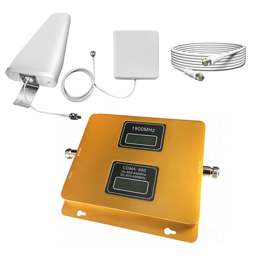 SANQINO Cell Phone Signal Booster for 2G 3G 4G LTE Verizon, AT&T, T-Mobile, Daul Band B2/5 850/1900Mhz, Repeater Amplifier Kit for Home and Office by SANQINO