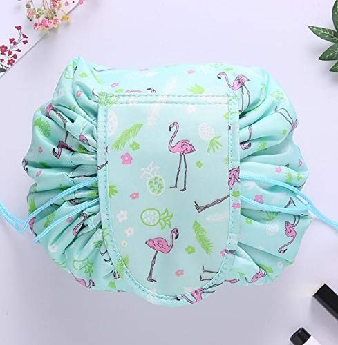 happy- little -bear Lazy Cosmetic Bag Large Capacity Drawstring Makeup Bag Lazy Cosmetic Bag Cosmetic Pouch Travel Storage Bag (Color : Green)