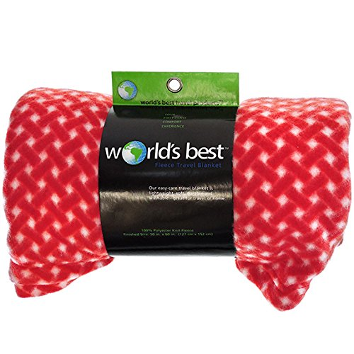 Worlds Best 4320 Cozy-Soft Microfleece Travel Blanket, Bamboo Red, Pack of 1