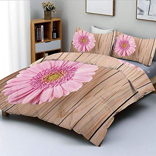 Duplex Print Duvet Cover Set Full Size,One Large Gerbera Daisy on Oak Back Dramatic South American Exotic PhotoDecorative 3 Piece Bedding Set with 2 Pillow Sham,Pink Brown,Best Gift for Kids & Adult