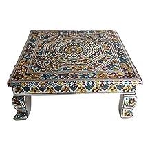 Premium Quality Puja Bajot /Table/ Chowki (Indian Religious Pooja Table) - Meenakari Flower Pattern, 15 L X 15 W X 5 H (Medium)
