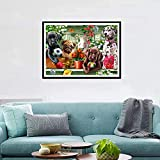 KoKoWill DIY 5D Diamond Painting Kit, Full Drill Round Crystal Rhinestone Embroidery Cross Stitch Home Wall Décor Arts Craft Canvas,Puppy Dogs,15.75 x 11.81 inch