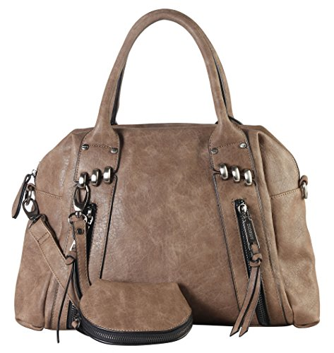 diophy-double-front-zipper-tote-bag-with-one-detachable-coin-pouch-cz-3720-khaki