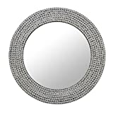 NOVICA Galvanized Steel Mosaic Frame Round Wall Mounted Mirror, 'Silvery Shine'