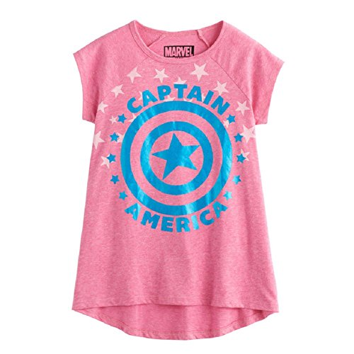 Marvel Girls' Big Captain America Hi-Low T-Shirt, Heather Pink, XS -