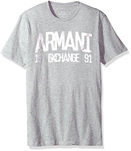 A X Armani Exchange Men's Metallic Printed Logo Tee, Alloy Htr BC06, - Men Clothes Armani Exchange For