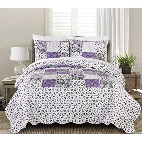 MISC 3pc Purple White Patchwork Pattern Full Queen Quilt Set, Cotton, Floral Square Patterned Bedding Lilac Lavendar Cottage Scalloped French Country Shabby Chic Vintage Antique ()