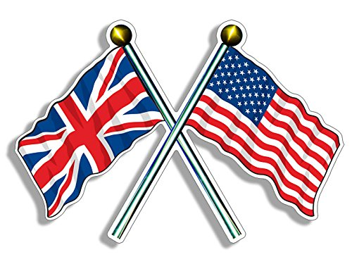 Crossed Poles USA & UK Union Jack Waving Flags Sticker (american british) ()