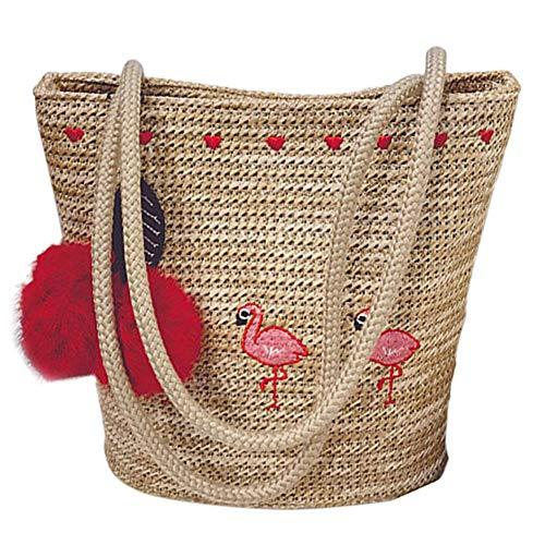 Pom Pom Straw Bag Cute Summer Bag Flamingo Shoulder Bag Crossbody Purse Holiday Tote Hawaii Vacation Bag