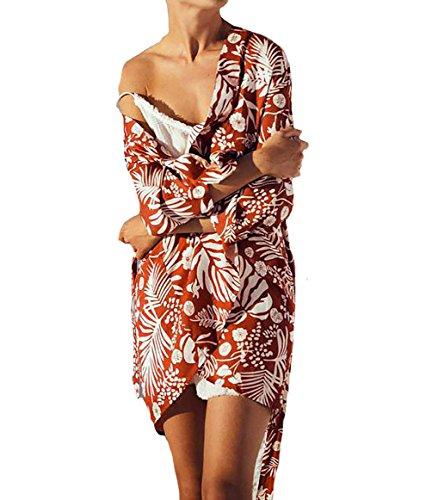 - Bestyou Women's Print Rayon Kimono Cardigan Swimsuit Cover up Tunic Tops Swimwear (Red A)