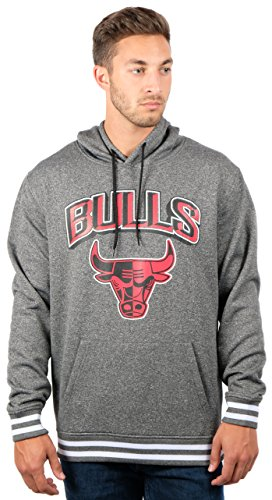 NBA Chicago Bulls Men's Fleece Hoodie Pullover Sweatshirt Rib Stripe, Large, Charcoal -