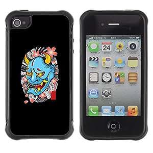 Be-Star único patrón Impacto Shock - Absorción y Anti-Arañazos Funda Carcasa Case Bumper Para Apple iPhone 4 / iPhone 4S ( Devil Spring Tattoo Biker Rock Roll )