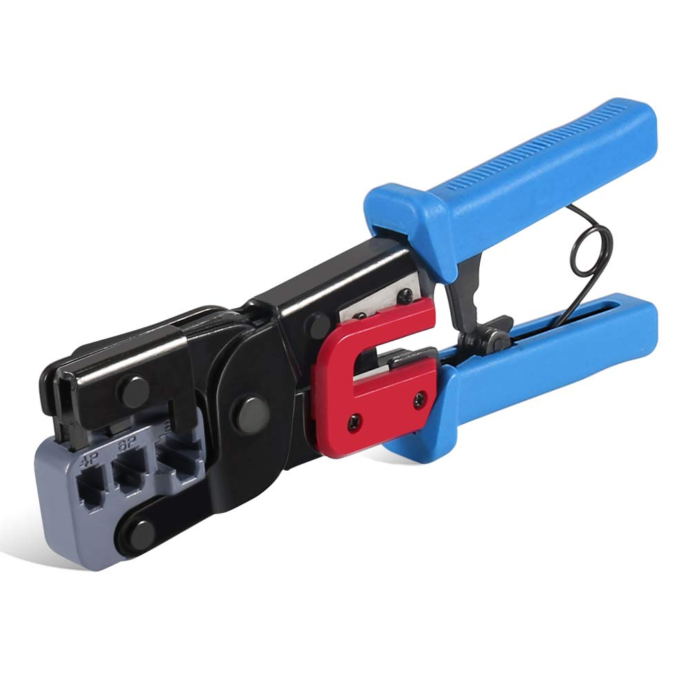 RJ45 Crimping Tool, ZOTO Network Ethernet Coaxial Cables Ratcheting Wire Crimper Cutter Striper for Cat5/Cat5e/Cat6/Cat7/RJ12/RJ11/RJ22 - All in One