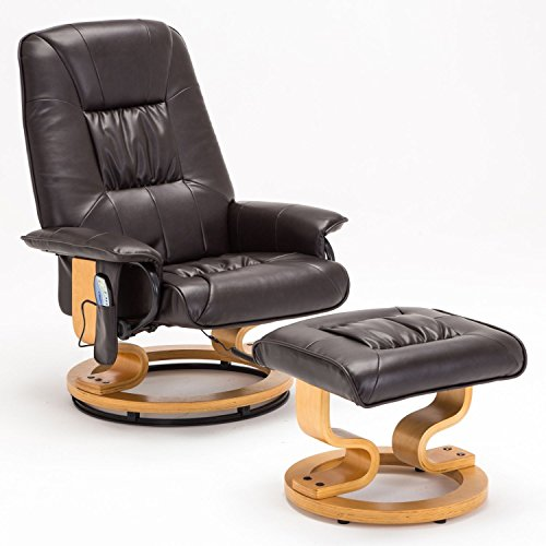 Massage Real Leather Recliner Chair Swivel Armchair w/Ottoman in Brown (Galaxy Executive Chair)