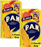 P.A.N Harina Blanca - Pre-cooked White Corn Meal 5 POUND - PACK PACK of 2