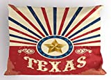 Lunarable Texas Pillow Sham, Texas Vintage Western Cowboy Style Sunburst and Star with Grunge Effects, Decorative Standard Queen Size Printed Pillowcase, 30 X 20 Inches, Navy Blue Red Cream