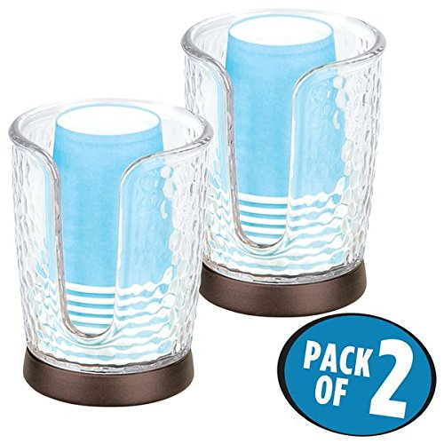 Vanity Cup (mDesign Short Disposable Paper Cup Dispenser for Bathroom Counter Tops, Vanities - Pack of 2, Clear/Bronze)
