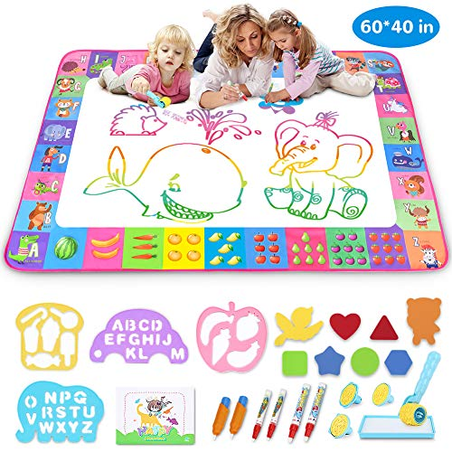 Aquadoodle Mat - Aqua Magic Mat - Kids Painting Writing Doodle Board Toy - Color Doodle Drawing Mat Bring Magic Pens Educational Toys for Age 1 2 3 4 5 6 7 8 9 10 11 12 Year Old Girls Boys Age Toddler Gift