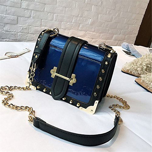Patent Leather Shiny Rivets Small Square Face Package Wild Casual Chain Shoulder Messenger Bag Blue W20H15D8 ()