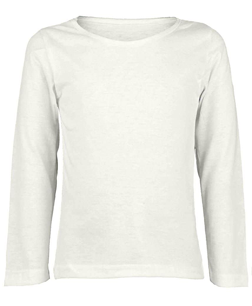 Amazon.com  Kids Long Sleeve Plain Basic Top Girls Boys T-Shirt Tops Crew  Uniform Tee  Clothing d36262bbc03