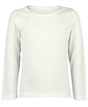 ad5a704185f96 RageIT Enfants Uni Manches Longues Haut Basique Garçon Fille T-Shirt Haut  Col Rond Uniforme
