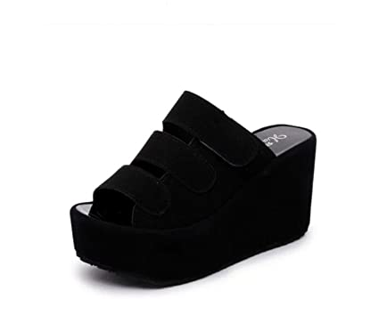 b944e55a268 DANDANJIE Nuevo Zapatillas de Mujer Primavera Verano Sandalias Moda Velcro Suela  Gruesa cuñas Sandalias Talones friegan